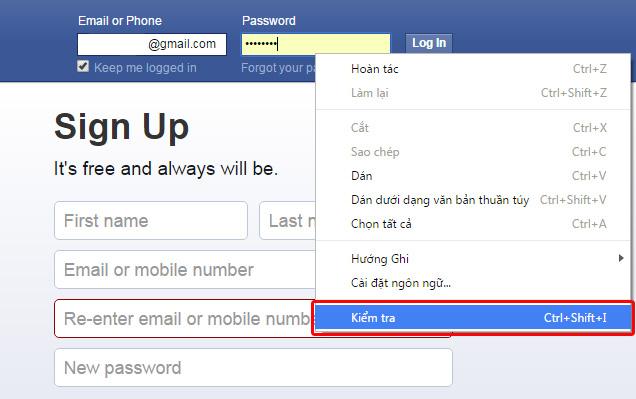 Cách làm hiện mật khẩu Facebook trên trình duyệt Chrome, Firefox hoặc Safari